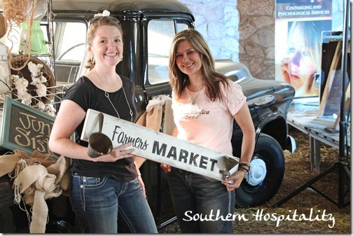 Donna with Farmers market sign
