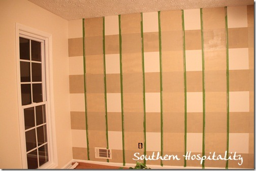 Vertical stripes taped and painted
