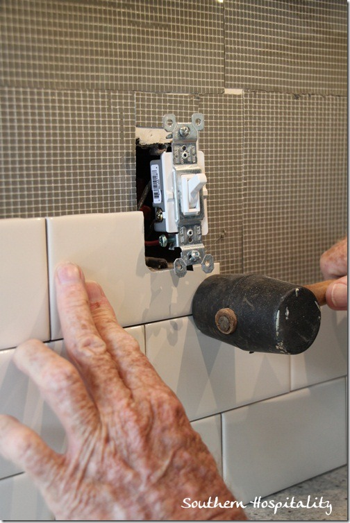 placing tile around outlet