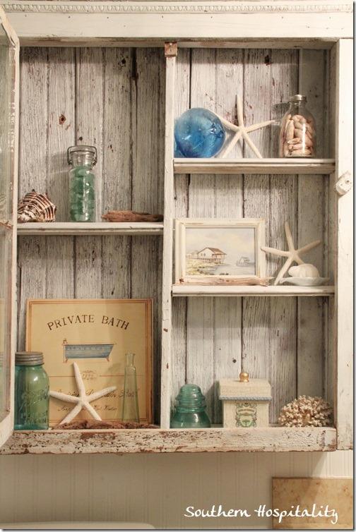 shabby cabinet shelves