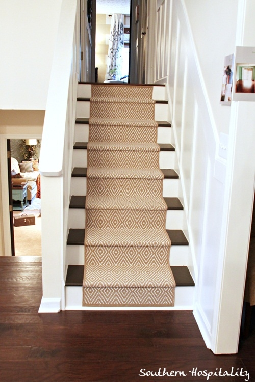 Painted Stairs And Adding Runners Southern Hospitality   Carpet Down Middle Of Stairs   Hardwood   Benjamin Moore   Carpet Runner   Landing   Stair Tread