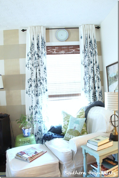 stenciled drapes