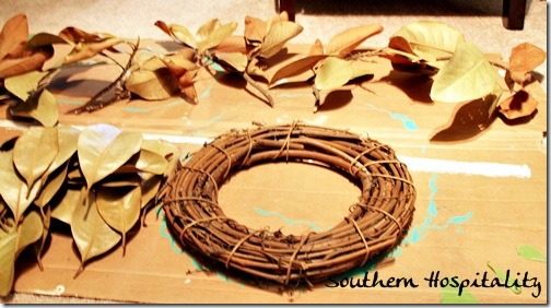 grapevine wreath and magnolia leaves