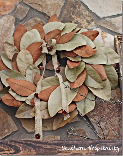 magnolia wreath on stone