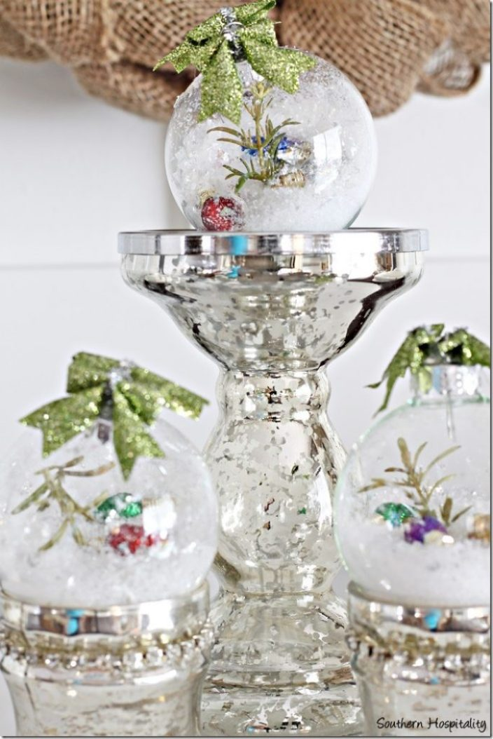 mercury glass with ornaments