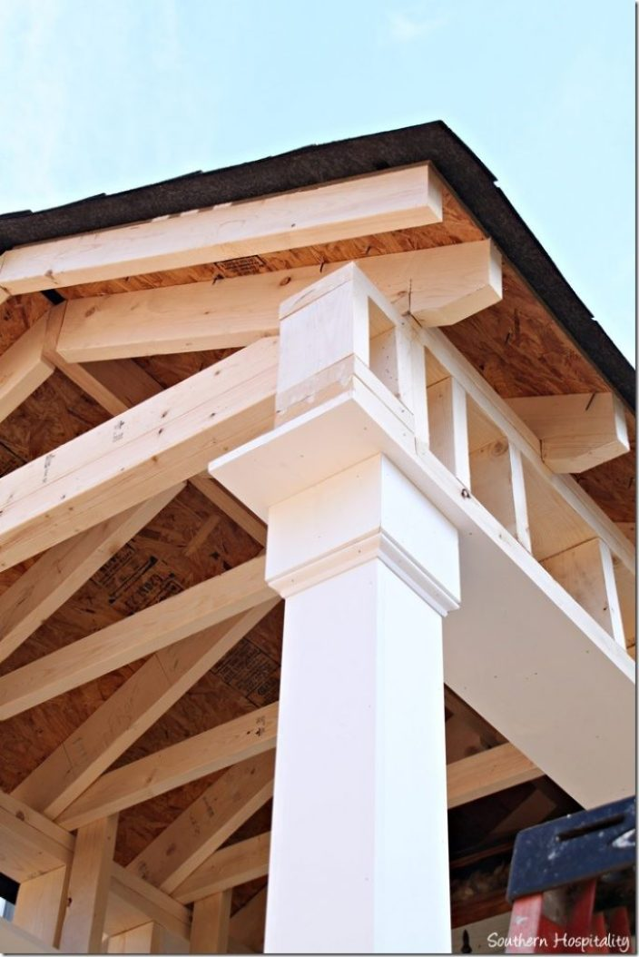 columns to new porch roof