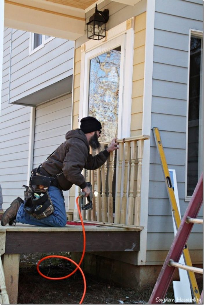 railings going in porch portico