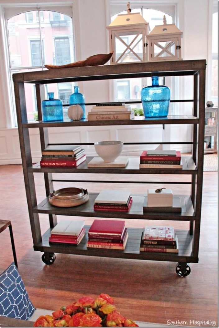 rustic bookcase on wheels