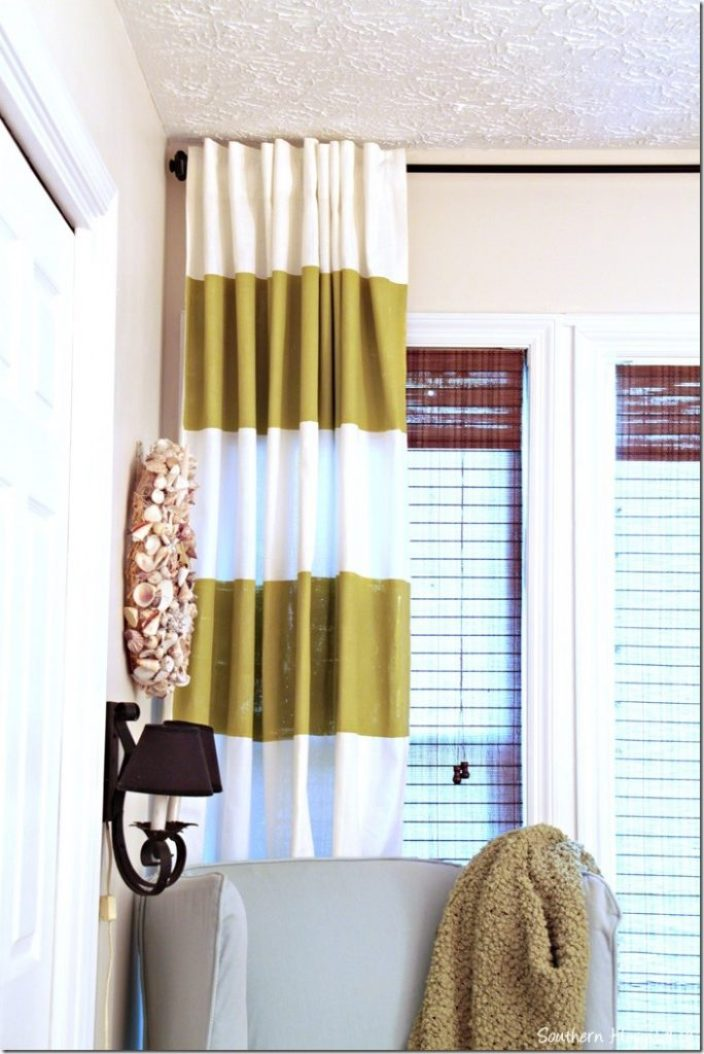 left striped curtain