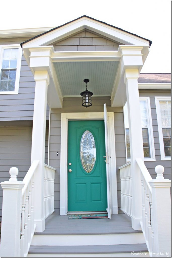 porch with door painted turquoise