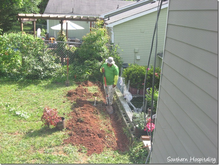trench dug for french drain