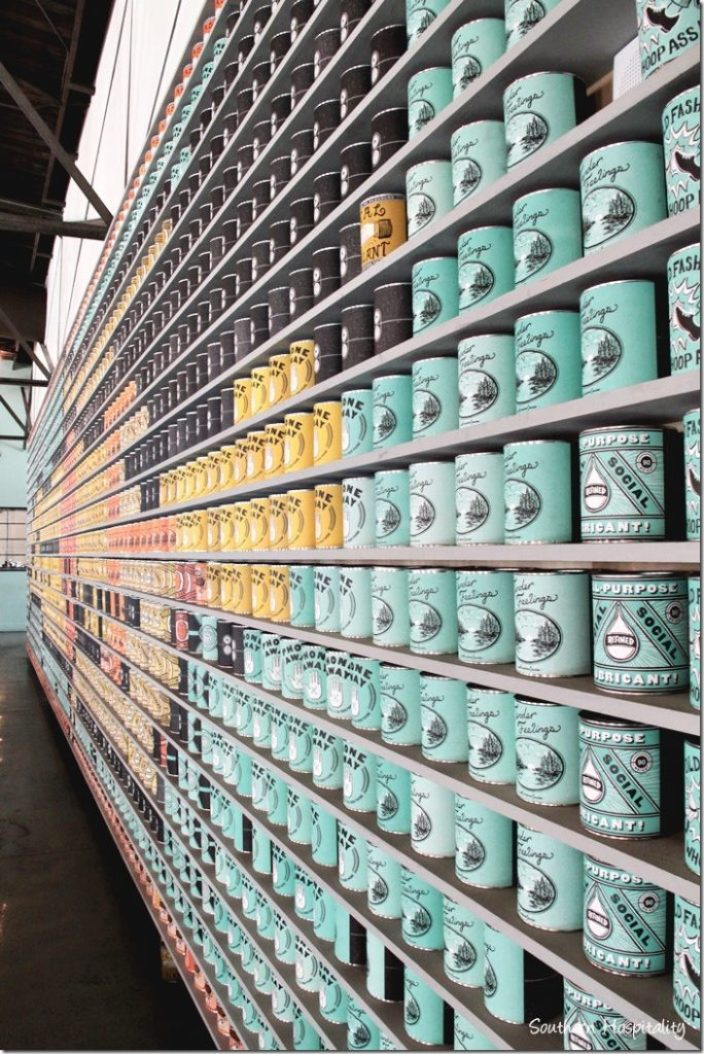 wall of cans