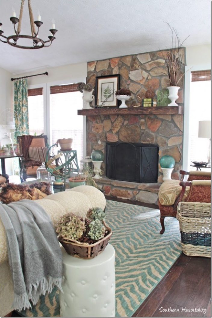 fireplace fall decor