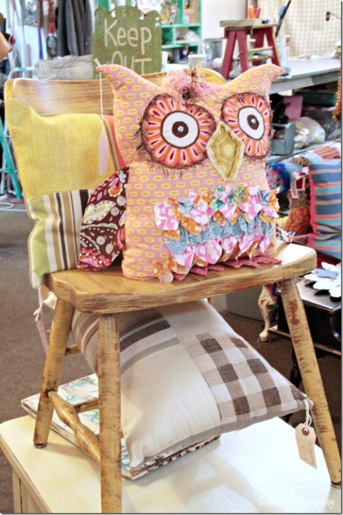 sew knot owl pillow