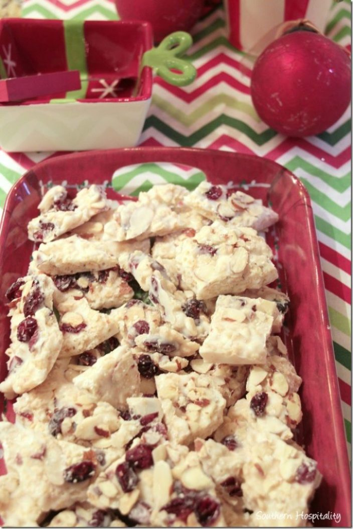 cranberry crunch bark on tray