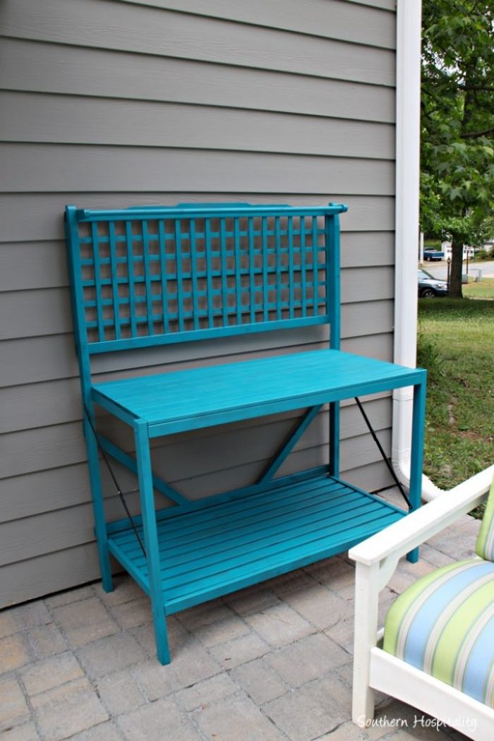 potting bench painted blue