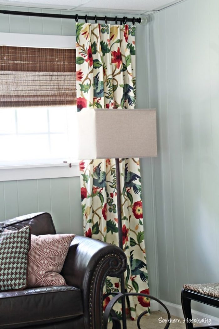 den corner with drapes