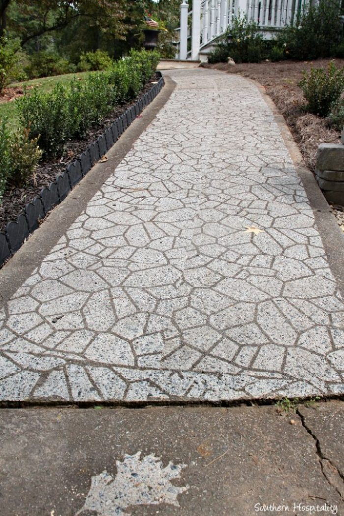 sidewalk after cobblestone stencil