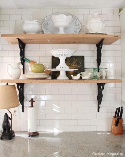 open shelves kitchen