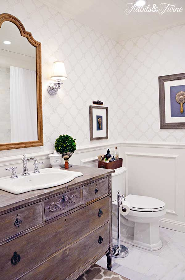Old Dresser As A Vanity And Some Fun Updates In This Bathroom From Tidbits  And Twine.