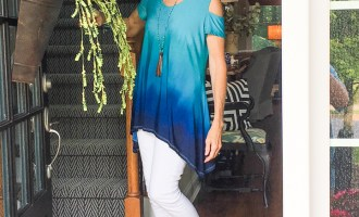 Fashion over 50:  Blue Ombre Cold Shoulder Top