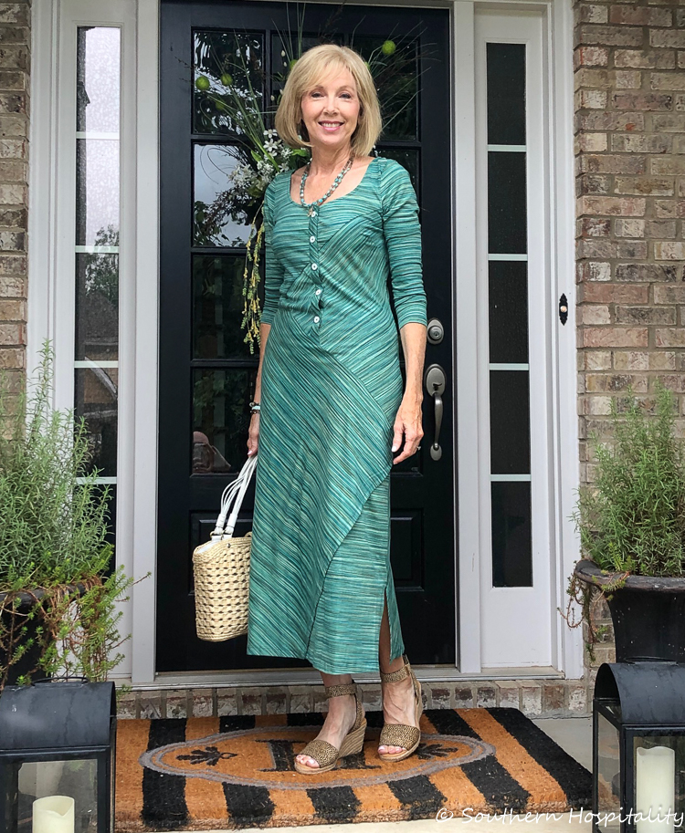 27f90dae Fashion over 50: Blue/Green Dress from eShakti - Southern Hospitality