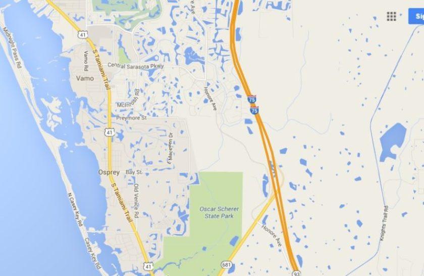 Osprey, Florida Area Map