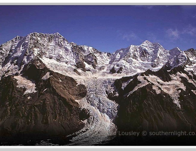 Hochstetter Glacier and Icefall - Aoraki Mt Cook and Mt Tasman. Aoraki Mt Cook National Park