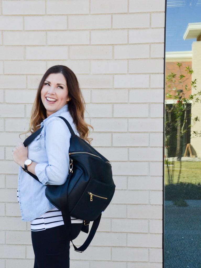 Maternity Style | Stripes + Chambray