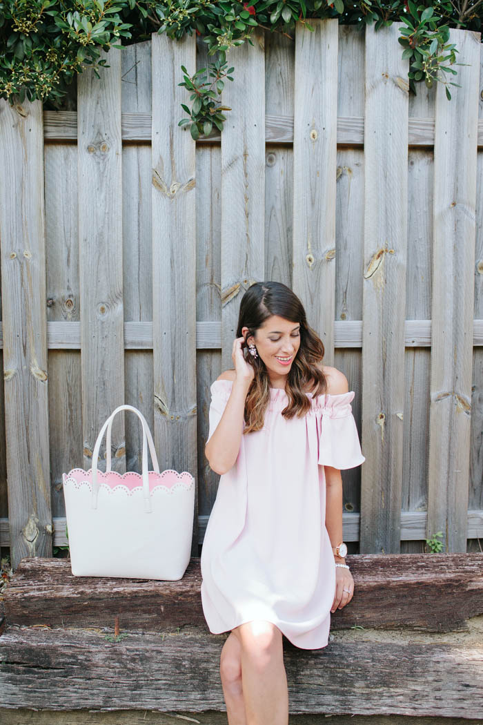 The Perfect Romantic Blush Dress by Britt from SouthernMamaGuide.com || Blush Dress || Blush Pink || Summer Dress || Romantic Dress || Feminine Dress || Off the shoulder dress || flattering dress