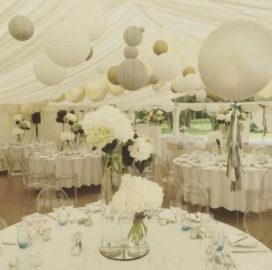 This marquee was dressed to impress for a 50th birthday party with a silver and gold theme.