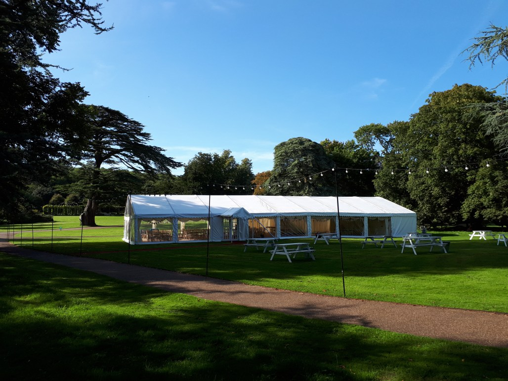 One of our multispan wedding marquees with stunning panoramic windows.