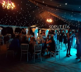 Starlight roof and white dancefloor and you have an amazing party marquee!