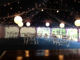 Poseur tables and bar stools together with a starlight roof and large dancefloor produced an amazing party space!