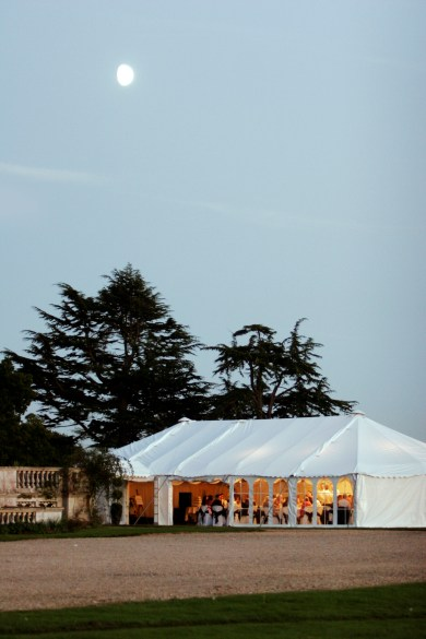 The beautiful Stansted Park creates a stunning backdrop to this wedding marquee...