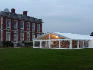 Looking in to the wedding marquee at Stanted Park.