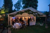 This small party marquee had a pretty seating area under the attached awning ...