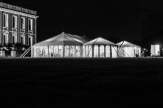 The shape of our AMH style marquee is shown off in all its glory against the darkness of the night sky ...