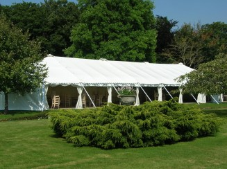 Lots of windows rolled up on this traditional style marquee.