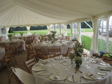 A wedding marquee at Stansted Park.