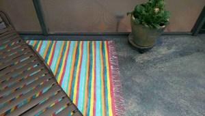 painted pool deck faux rag rugs