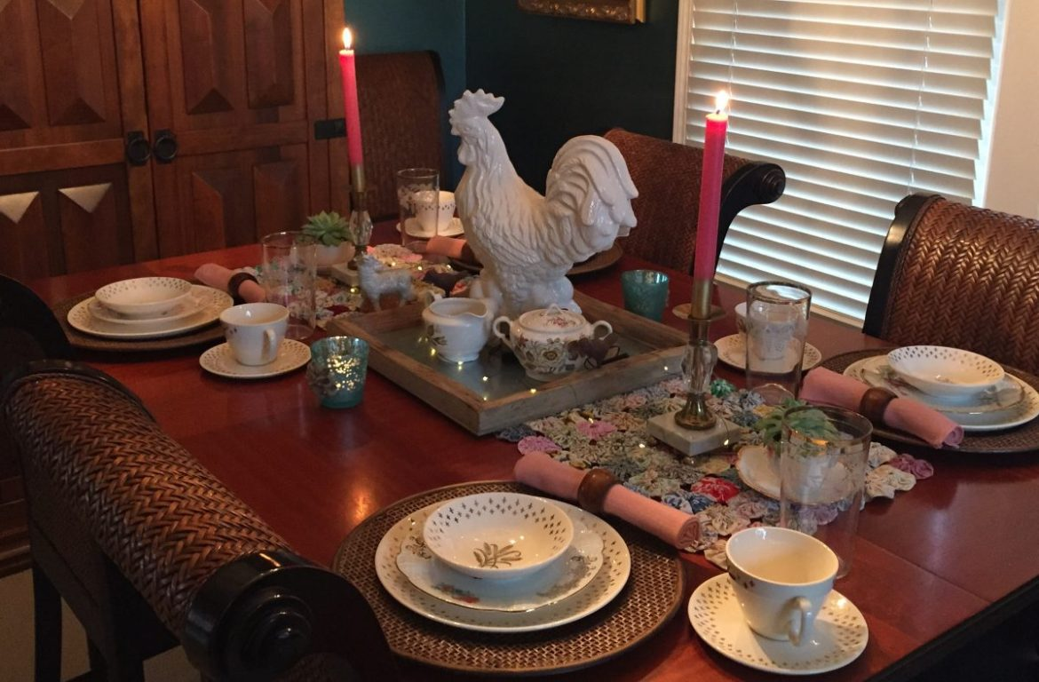 Vintage China set on table with white rooster