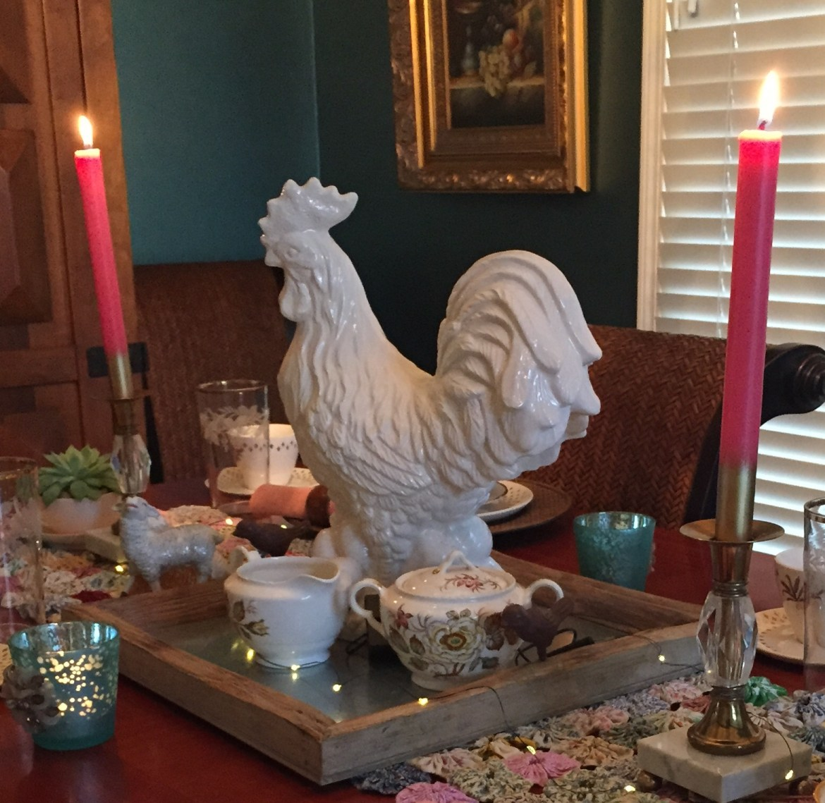country table rooster and galvanized tray.jpg