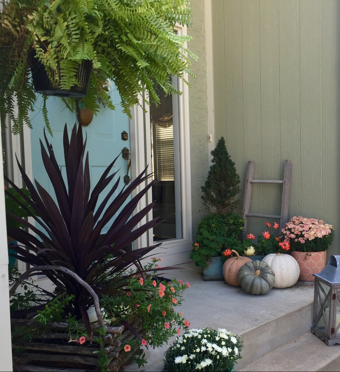 White Pumpkins and Blush colored Mums are great Fall Decor Ideas for the front porch