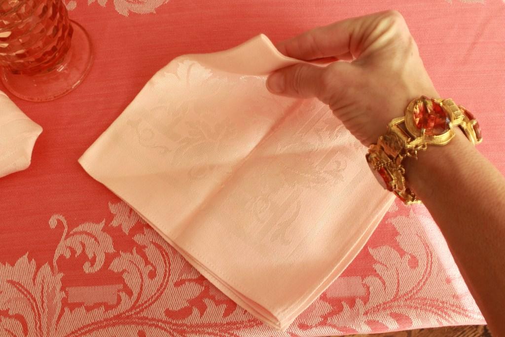 Pink Christmas Tree Napkin Fold