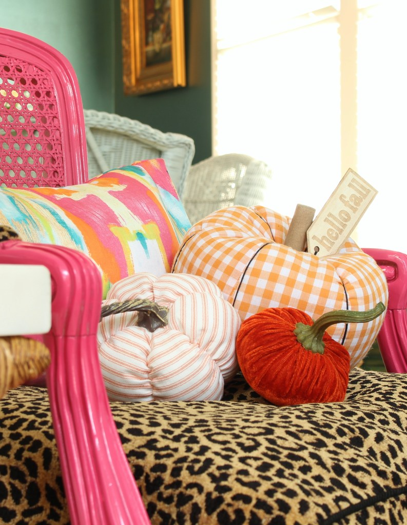 Cheetah Print Chair and Buffalo Check Pumpkins