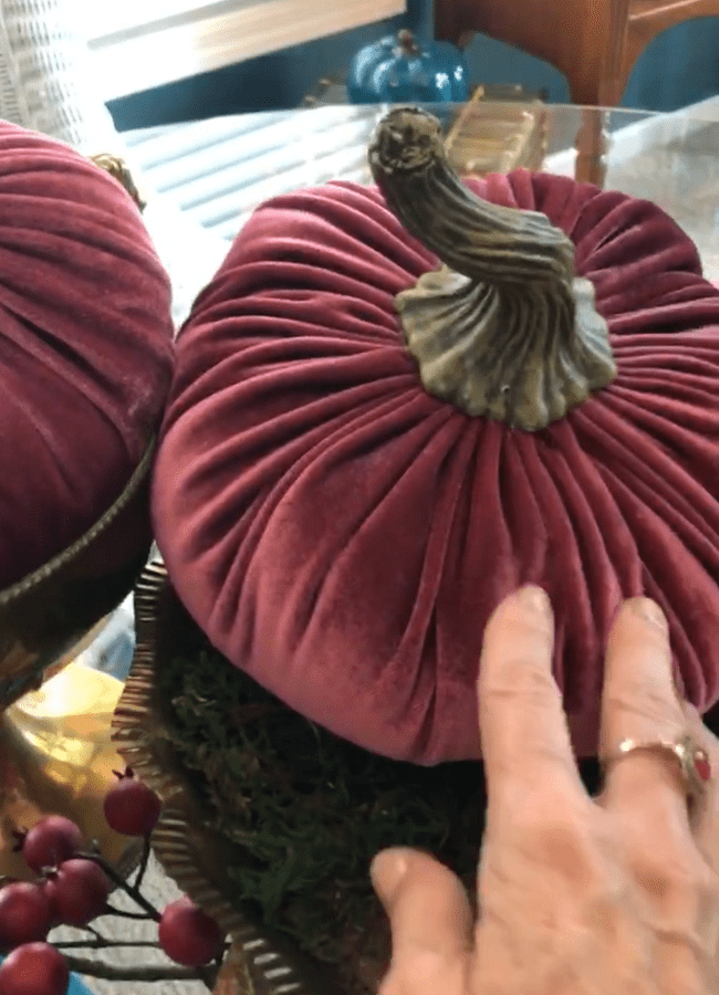 Velvet Pumpkin for DIY Fall Centerpiece