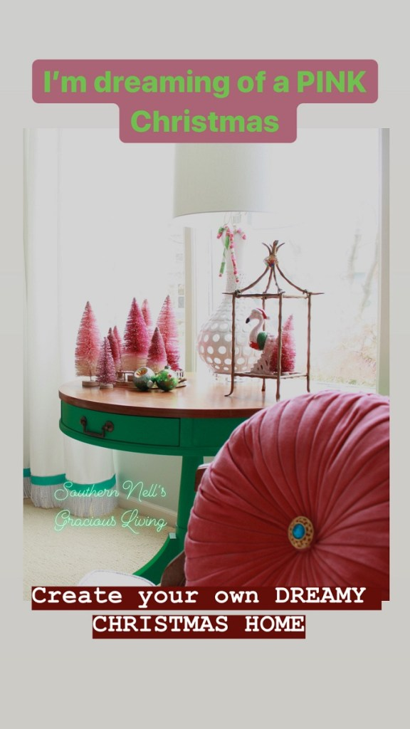 Velvet Pink Pillow and Pink Bottle Brush Christmas Trees