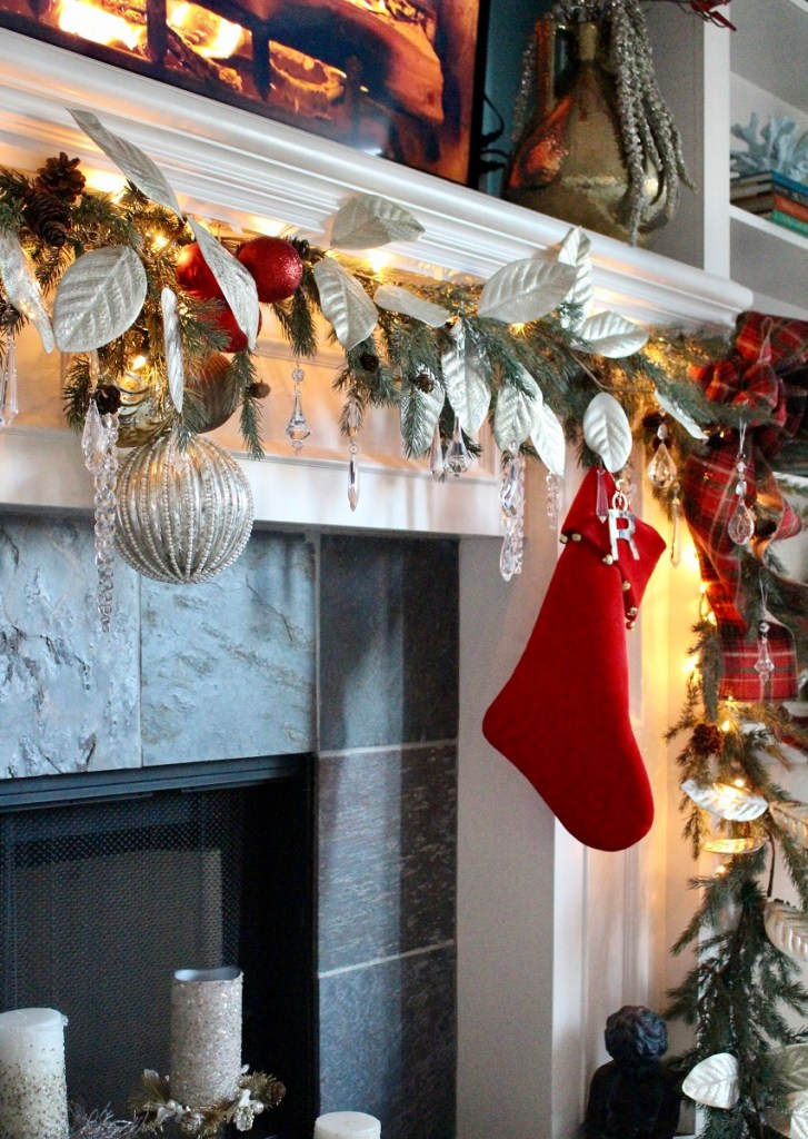 Christmas Mantel with Red Stockings