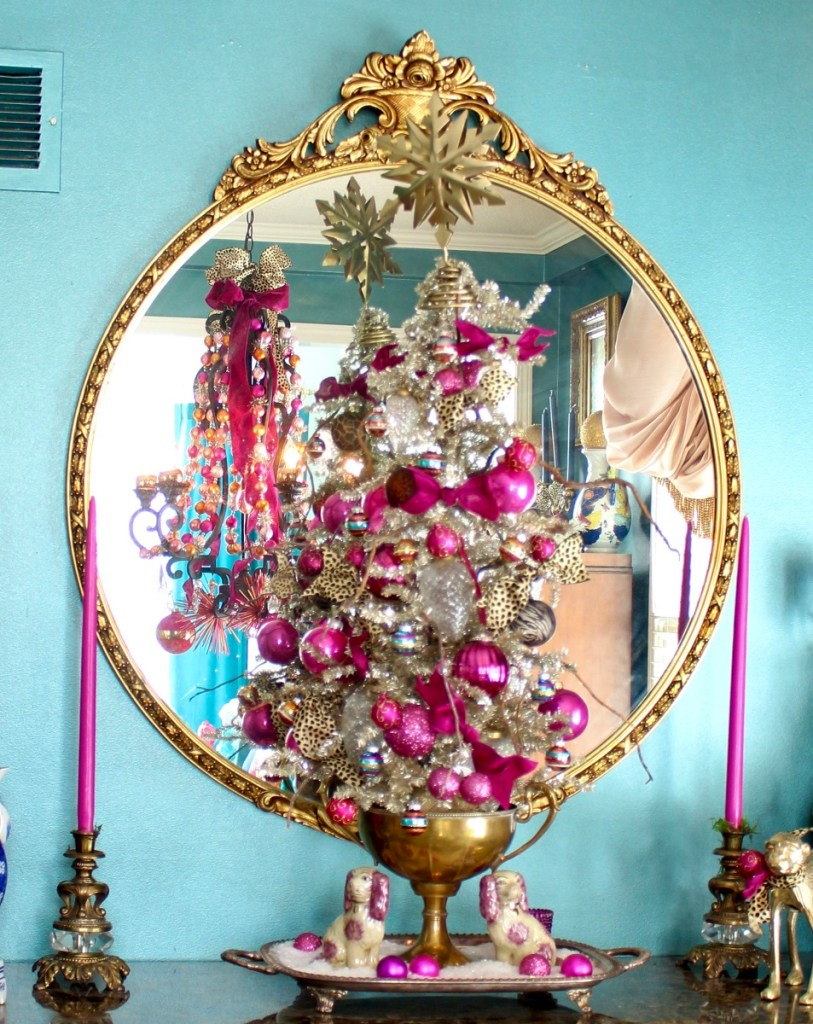 Vintage Tinsel Christmas Tree in Brass Trophy Cup and Antique French Mirror